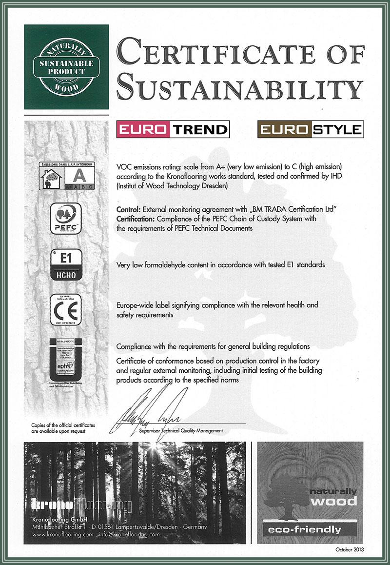 Flooring Certificate of Sustainability