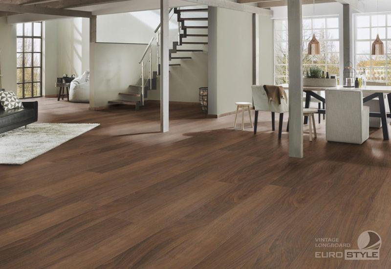 EUROSTYLE Empire Walnut Vintage Longboard Laminate Flooring